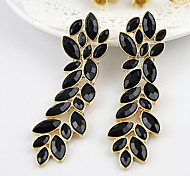 2013 New Coming Elegant Alloy Leaf Shape Fashion Rhinestone Earrings Jewelry