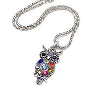 Уникальный сплав с Rhinestone ожерелье Сова Женские