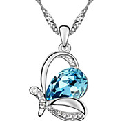 Austrian Crystal Butterfly Pendant Necklace(Assorted Color)