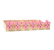 Pink Clothes Pattern Wooden Clip(6 PCS)