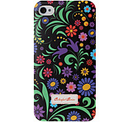 Small Florals Pattern Black Plastic Hard Case for iPhone 4 4S