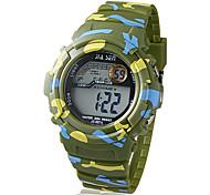 lcd digital multi-funcional camuflagem de borracha da banda relógio de pulso das crianças (cores sortidas)