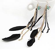Black Feather Drop Earrings