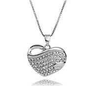 Strass Herz Silber Halskette
