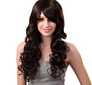 Sin tapa larga sintético de la manera de Brown peluca de pelo rizado bang lado