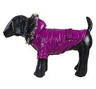 Perros Abrigos / Saco y Capucha Amarillo / Verde / Morado / Gris Ropa para Perro Invierno Un Color