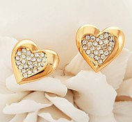 U7® 18K Real Yellow Gold Plated Austrian Rhinestone Heart Earrings