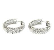 Silver Crystal Matting Hoop Earrings