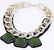 simili-cuir d'alliage de mode avec des pierres vertes colliers pour les femmes