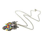 Европейские и американские торговые старинный алмаз сова свитер цепи ожерелье N81