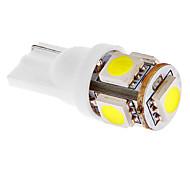 T10 1W 5x5050SMD 45LM 6000-7000K luz blanca fría del bulbo para el coche (DC 12V) LED