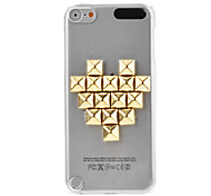 Golden Rivets Heart-Shape Transparent Hard Case for iPod touch 5