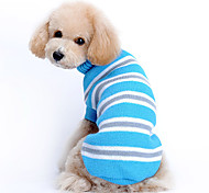 Cat / Dog Sweater Blue Dog Clothes Winter / Spring/Fall Stripe Casual/Daily / Keep Warm