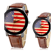 Couple's USA Flag Pattern PU Analog Quartz Wrist Watches (Assorted Band Colors) Cool Watches Unique Watches