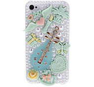 Chinese Lute with Diamond and Cute Baubles Covered Hard Case with Nail Adhesive for iPhone 4/4S