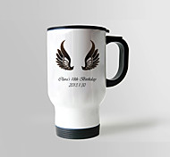 Personalized Stainless Steel Wing Pattern Sliver Car Mugs (Assorted Colors)