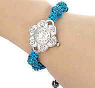 Women's Flower Shaped Case Blue Fabric Band Bracelet Watch Cool Watches Unique Watches