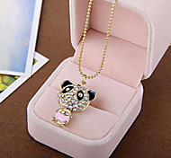 South Korean high-end trinkets over drilling cute panda flash diamond sweater chain necklace (random color)