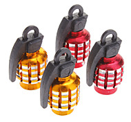 Stylish Grenade Style Tire Valves Decoration Cap for Motorcycles (Assorted Colors, 2-Piece)
