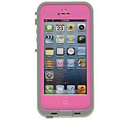 2-en-1 hermética impermeable protectora rosada de caso completo de cuerpo con un paño de limpieza para el iPhone 5/5S
