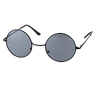 Unisex Dark Gray Lens Black Frame Round Sunglasses