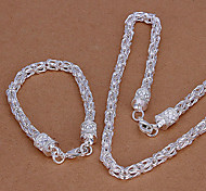 Fashion Silver Plated (Necklace & Bracelet) Jewelry Set (Silver)