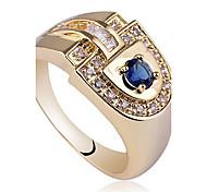 hommes nobles »d-or Hape daigne finih anneau de ilver 925 Terling avec zircon rond
