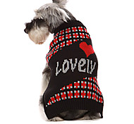 Dog Sweater Red / Black Winter Hearts