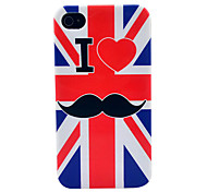 UK Flag Mustache Soft TPU IMD Case for iPhone 4/4S