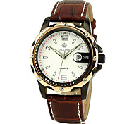 Men'S Rose Gold Case Date Business Quartz Analog Pu Leather Band Wrist Watch