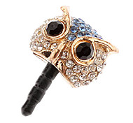 Zircon Owl Earphone Jack Anti-Dust Plug for iPhone and Samsung(Assorted Color)