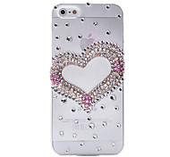 Clubs Heart Pattern Metal Jewelry Back Case for iPhone 5/5S