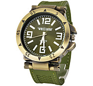 Men's Watch Military Green Bronze Silicone Strap Wrist Watch Cool Watch Unique Watch