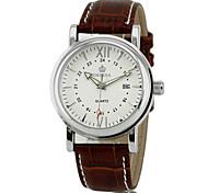 Argent Quartz analogique noir brun cuir PU bande de montre-bracelet de sport pour hommes