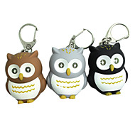 Owl Style 2-LED Light Blue torcia portachiavi - Marrone + Bianco + Arancio (colore casuale)