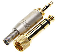 Gold Plated 6.35mm to 3.5mm Stereo Plug Soldering Adapter