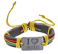Unisex Multicolor I Love Jesus Fabric Leather Bracelet
