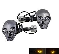 Estilo Crânio DTY lâmpada decorativa 4-LED adesivos para Motos (2 peças)