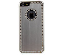 Silver Brushed Metal Hard Case with Diamond for iPhone 5C