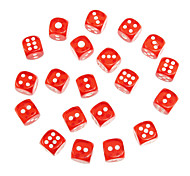 Dados transparentes rojos 20pcs 18mm ABS