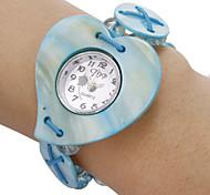 Teste padrão azul Coração da Mulher Branco Dial Analog de quartzo pulseira relógio