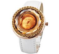 Strass ronde des femmes Dial PU bande de montre bracelet à quartz analogique (couleurs assorties)