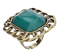 Men's Vintage Square Green Adjutable Ring