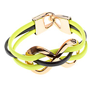 (1 Pc)Fashion Women's YellowLeather Wrap Bracelet