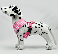Dog Harness Adjustable/Retractable Polka Dots Blue / Pink Fabric