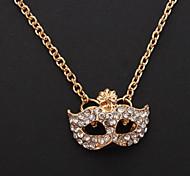 1pc Vintage (Mask Anhänger) Goldene Alloy Halskette