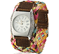 Women's Knitted Wide Fabric Band Quartz Analog Wrist Watch (Assorted Colors)