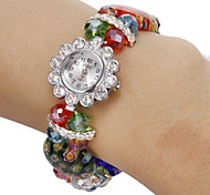 Women's Diamante Flower Pattern Colorful Crystal Band Quartz Analog Bracelet Watch