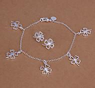 Sweet Silver Plated (Bracelet & Earrings) Jewelry Set (Silver)