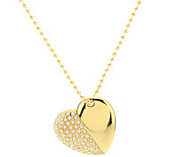 Heart Shape Gold with Chain Flash Drive 4G